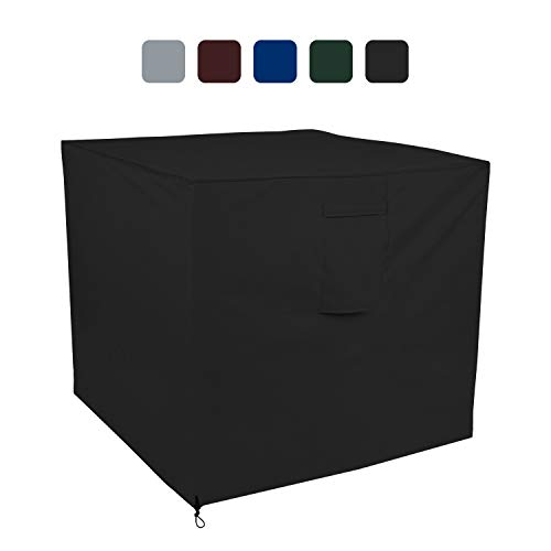 COVERS & ALL Air Conditioner Cover 18 Oz Waterproof - 100% UV & Weather Resistant PVC Coated Outdoor Furniture Cover with Air Pockets & Drawstring for Snug Fit (24W x 24D x 22H, Black)