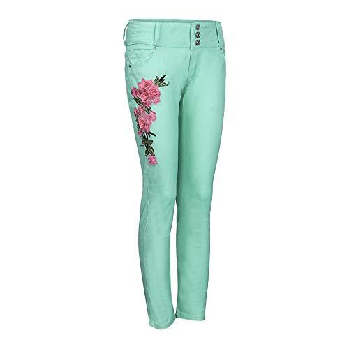 Stretch Chic Taille Pantalon Svelte Skinny Denim Femmes Mode Étendue Sexy Fit Pants Vert Crayon Pantalons Jeans Collants Broderie Longra Slim Imprimé Haute 6b7yYfg