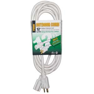 InstallerParts 12Ft 16/3 Patio & Deck Extension Cord - Ultra Flexible - Flame Retardant - Water Resistant (White Extension Cord 12 Feet compare prices)