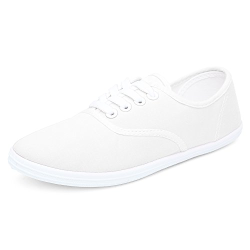 CIOR Women Lace up Canvas Shoes Casual Round Tote Classic Sneakers Original Lightweight Soft,VFB01,F.White,36 Canvas Lace Up Shoes