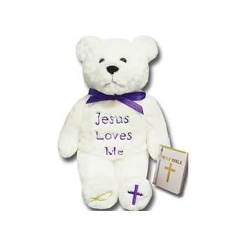 Amazon Com Holybears Jesus Loves Me Plush Bear Stuffed Animal