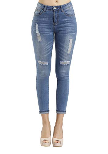 Women's Hight Waisted Butt Lift Stretch Ripped Skinny Jeans Distressed Denim Pants(US 6, Light Blue 051)