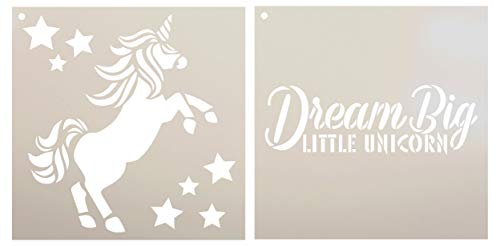Dream Big Little Unicorn Stencil - 2 Part by StudioR12 | Reusable Mylar Template | Use to Paint Wood Signs - Pallets - Pillows - T-Shirt - DIY Children's Decor - Select Size (12