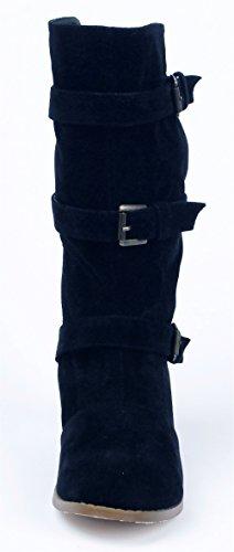 AgeeMi Sólido Grueso Media Suede Shoes Negro hebillas Botas Tacón Mujer Caña fnqfgpx1w