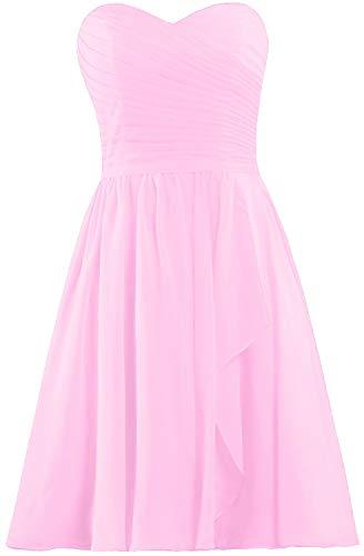 - ANTS Women's Sweetheart Short Bridesmaid Dresses Chiffon Wedding Party Dress Size 6 US Pink