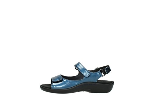 Wolky 1300 Salvia Black Womens Sandals 882 denim patent metallic leather