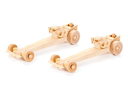 Set of 2 Deluxe Wooden Drag Racer Model Kit Drag Racer Set