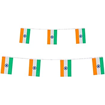 INDIAN FLAG BUNTING LARGE 3 METRES PARTIES CELEBRATIONS INDIA