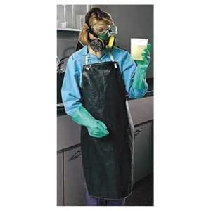 "Chemical Resistant Black Hycar Nitrile Lab Apron with Cotton Backing, 35"" X 45"""