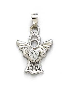 Blanc 14 carats Cœur en Filigrane-Pendentif ange CZ JewelryWeb