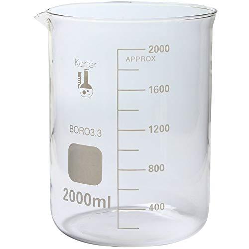 2000ml Beaker, Low Form Griffin, Borosilicate 3.3 Glass, Graduated, Karter Scientific 213D20 (Single)