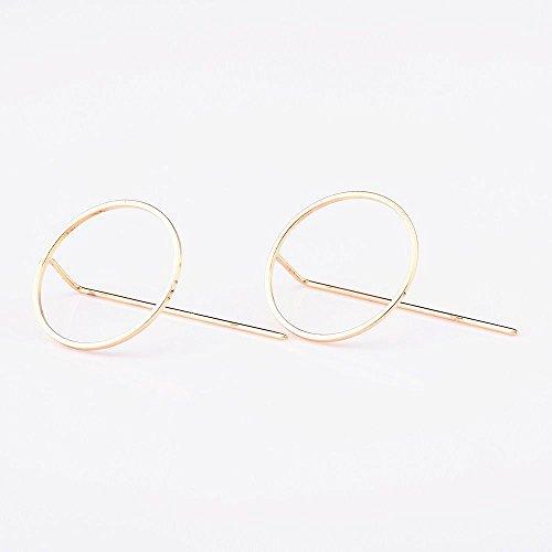 VANKER 1 Pair Women Fashion Round Circle Dangle Hoop Earrings Geometric Pin Jewelry (Gold)