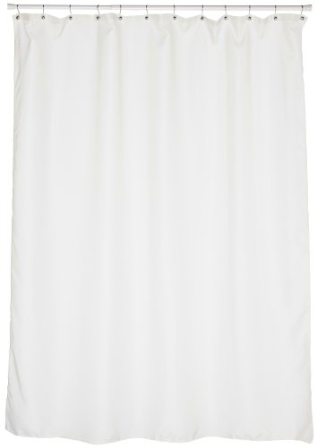 Carnation Home Fashions Fabric Extra Long Shower Curtain Liner, Ivory, 70 x 84 Inch