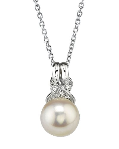 THE PEARL SOURCE 14K Gold 8.5-9mm AAA Quality Round White Akoya Cultured Pearl & Diamond Swirl Pendant Necklace for Women
