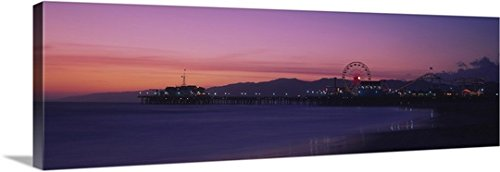 Canvas On Demand Premium Thick-Wrap Canvas Wall Art Print entitled Santa Monica pier at dusk, Santa Monica, - Santa Fabric Monica