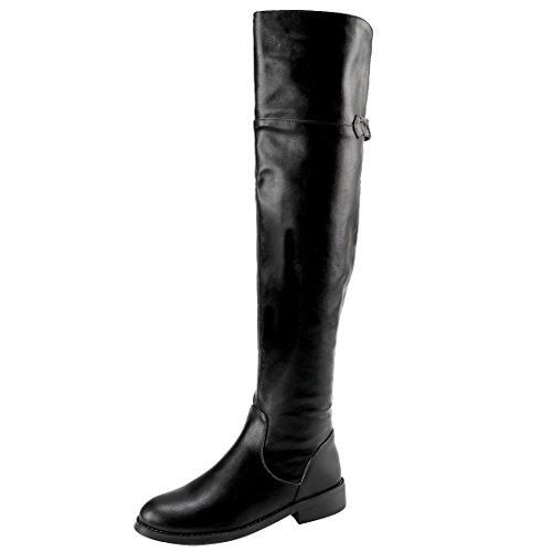 AIYOUMEI Damen Nubukleder Overknee Stiefel mit Keilabsatz Bequem Modern Winter Langschaft Stiefel XcjUL0