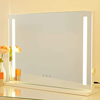 Image of AMST Vanity Mirror with lights, Tabletop & Wall Mounted Makeup Mirror with Strip LED light, 3 Color Modes with Dimmer, Touchscreen Vanity Mirror, USB Charging Port, White (L22.8 X H17 inch)