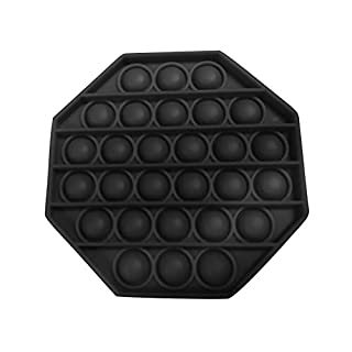 MANDIY Silicone Push Pop Pop Bubble Sensory Fidget Toy Extrusion Push Bubble Fidget Sensory Toy, Autism Special Needs Stress Reliever, Anxiety Relief Toys for Adults and Children #12 Octagon-Black