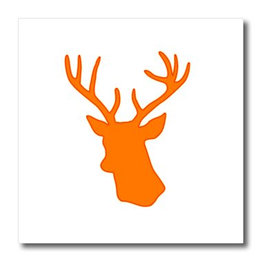 3dRose ht_179696_1 Orange Deer Head Silhouette on White. Modern Country Stag with Antlers-Iron on Heat Transfer Paper for White Material, 8 by 8-Inch