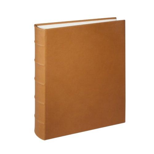"Genuine Italian Leather Bound Album, 100 Pages, Photo Squares Included, 9-1/8"" x 12-1/4"", British Tan"