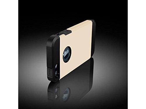iPhone SE 5S 5 Tough Case, Fone-Stuff® - 2 Layer Rüstung Shell Gebundene Ausgabe Abdeckung in Gold (mitgelieferte Displayschutzfolie)