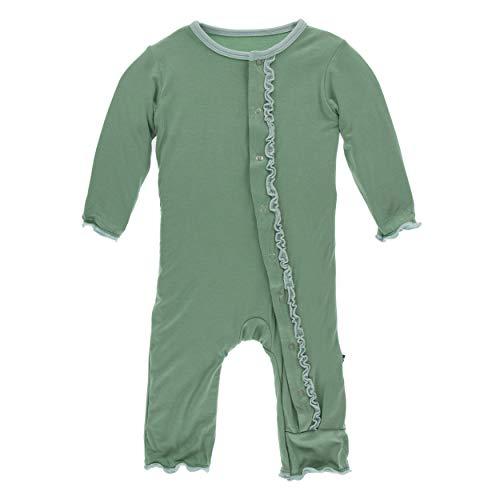 Girl Coverall Solid - Kickee Pants Little Girls Solid Muffin Ruffle Coverall with Snaps - Shore with Spring Sky, 12-18 Months