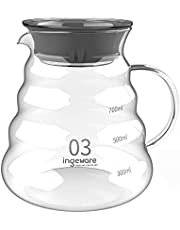 Ingeware Coffee Server, Borosilicate Glass Carafe for Pour Over Coffee Maker, Clear Pour Over Carafe, Durable Range Server