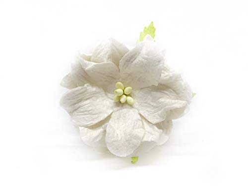 Savvi Jewels 1.5 inch Off-White Mulberry Paper Flowers with Wire Stems, Gardenia Flowers, Mini Paper Flowers, Wedding Decoration Craft Scrapbooking Flowers Bouquet 25 -