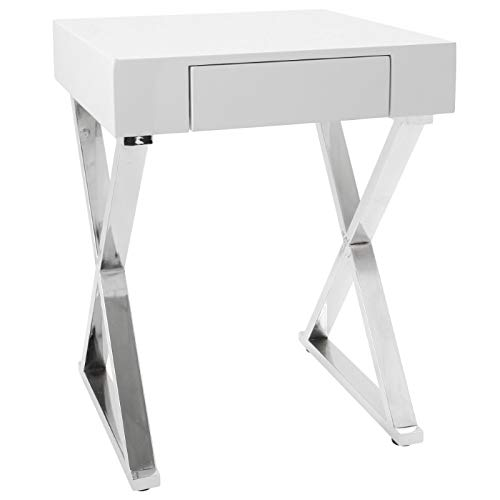 Lumisource Luster Contemporary Side Table, Square, White/Chrome