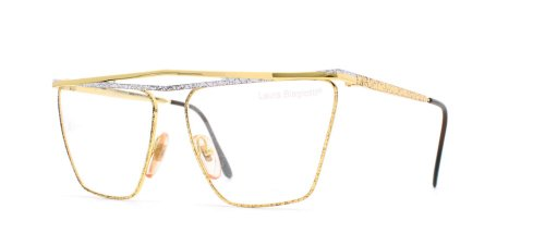 Laura Biagiotti V82 147 Gold and White Authentic Women Vintage Eyeglasses ()