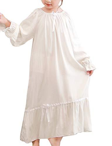 Little Girls Short Sleeve Cream Nightgown Robe Sleepwear Dress,White,150CM/fits9-10 Years