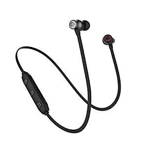 Wireless Headphones Bass Earbuds with Mic Bluetooth V5.0 Noise Cancelling in-Ear Sweatproof Earphones for Mens Sports Headsets Lightweight Portable Gym Outdoor Earplugs 6 Hours Play Times