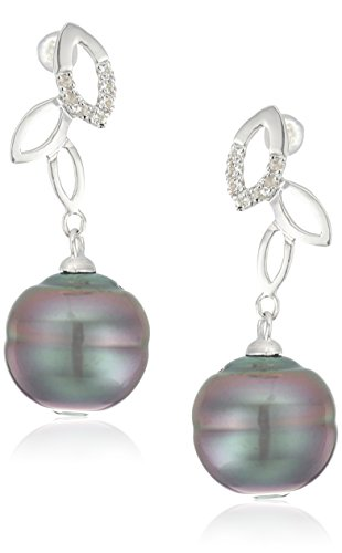 11mm Natural Cultured Tahitian Pearl (10-11mm Natural Color Circle Tahitian Cultured Pearl And White Topaz Leaf Sterling Silver Dangle Earrings)