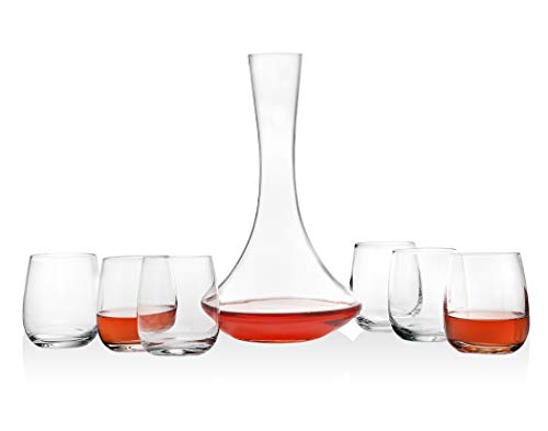 Godinger Wine Carafe Decanter and 6 Goblet Wine Glasses Set - European Made, 70oz