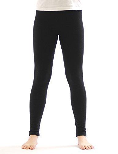 Kinder Thermo Mädchen Leggings leggins Hose lang aus Baumwolle Fleece Futter schwarz 158
