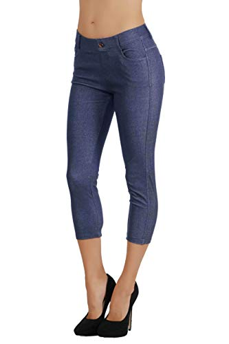 (Fit Division Women's Jean Look Cotton Blend Jeggings Tights Slimming Full Lenght Capri Bermuda Shorts Leggings Pants S-3XL (L US Size 10-12, FDJN817-DBL))