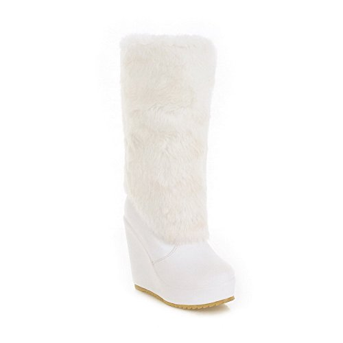 Round 5 US with White Solid PU Heels Toe Boots AmoonyFashion and Soft High Platform B M Closed Wedge Womens Material PU Tq4ERwECWx