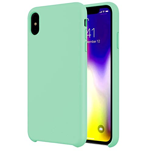 - Case Compatible with Liquid Silicone iPhone Xs MAX 6.5 inch (2018) Case,Anti-Slip Good Grip Scratch Resistance Comfortable Grip Rubber Shockproof Cover with Soft Microfiber Lining Cushion-Mint Green