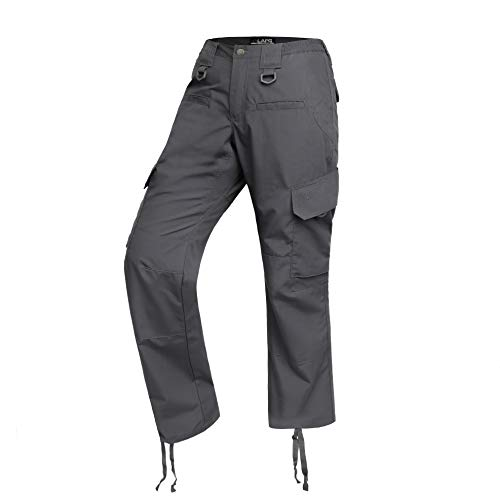(LA Police Gear Women's Operator Pant with 8 Pockets and Elastic Waist - Charcoal - 4 - Long)