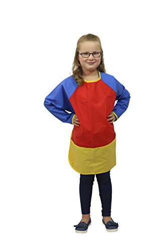 School Smart Full Protection Vinyl Smock, 6 to 8 Years, Multiple -