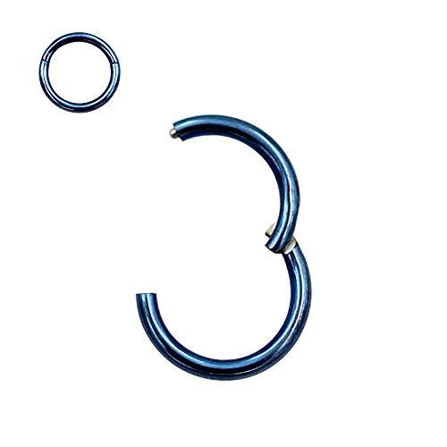8mm Septum Ring Nose Rings Hoop Blue Nose Ring 20 Gauge Nose Hoop Helix Earrings Daith Earrings Tragus Earrings Septum Clicker Lip Rings 20g Cartilage Earring Nose Piercing Jewelry Surgical Steel (Best Material For Nose Ring)