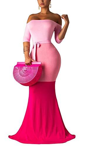 (Vakkest Women's Tricolor Cold Shoulder Short Sleeve Long Dress Summer Casual Maxi Dresses with Belt S-XXL)