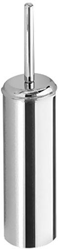 Gedy Ascot Round Satin Toilet Brush Holder, Satin Chrome by Gedy