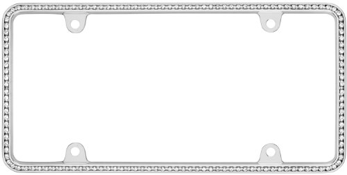 Cruiser Accessories 18130 Diamondesque License Plate Frame, Chrome/Clear