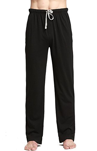 CYZ Cotton Knit Pajama Lounge Sleep Pants-Black-M