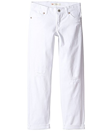 Levi's Girls' Big Distressed Boyfriend Fit Jeans, White, 12 by Levi's