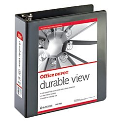 (Office Depot Nonstick Round-Ring View Binder, 3in. Rings, 100% Recycled, Black, OD02973)