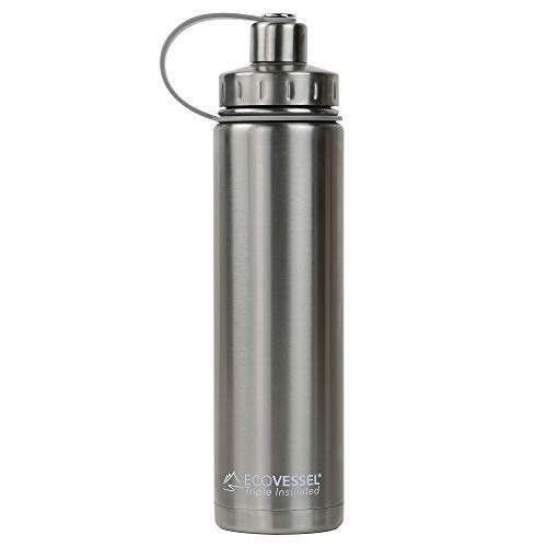 EcoVessel BOULDER TriMax Vacuum Insulated Stainless Steel Water Bottle with Versatile Stainless Steel Top and Tea, Fruit, Ice Strainer - 24 ounce - Silver Express