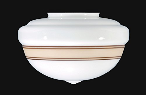 B&P Lamp Supply 4'' Fitter, ''Schoolhouse'' Opal Shade W/Tan Band, 10'' Dia., 7'' Drop by B&P Lamp Supply