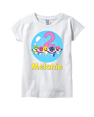 8b3c40aa5 Amazon.com: Baby Shark Personalized Birthday Outfit Tutu Set: Handmade